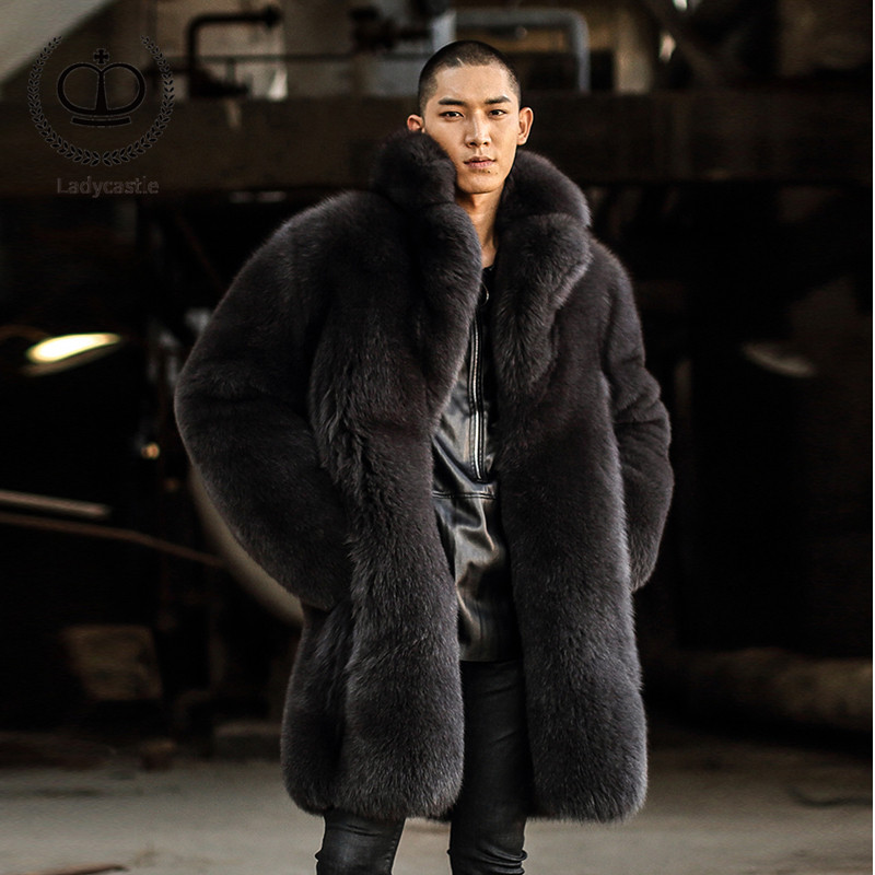 Luxury 2018 New Real Fox Fur Coat Men Winter Thick Warm Male Fur Jacket 90 CM Long Natural Fox Fur Jacket Genuine Outwear FM-003(China)