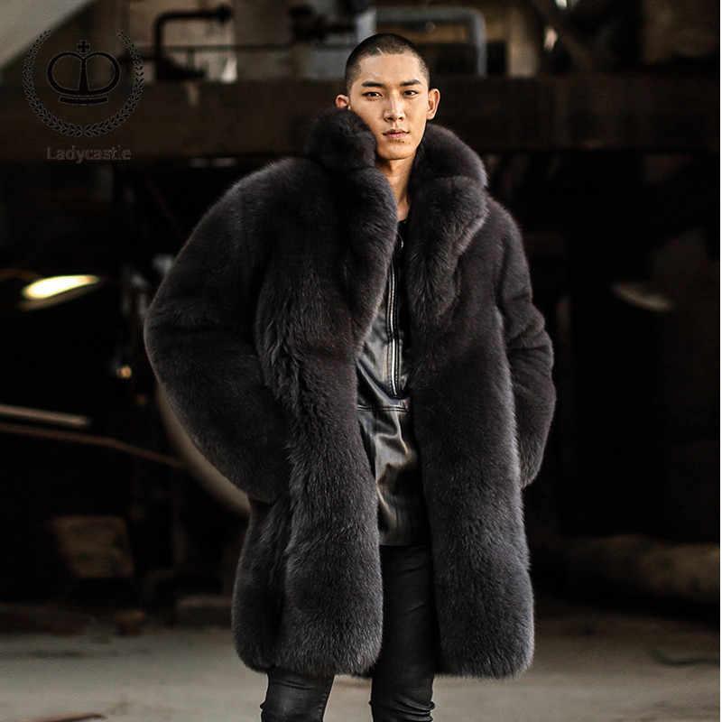Роскошная Новинка 2018, пальто из натурального Лисьего меха, Мужская Зимняя Толстая Теплая мужская меховая куртка, 90 см, длинная куртка из натурального Лисьего меха, натуральная верхняя одежда, FM-003