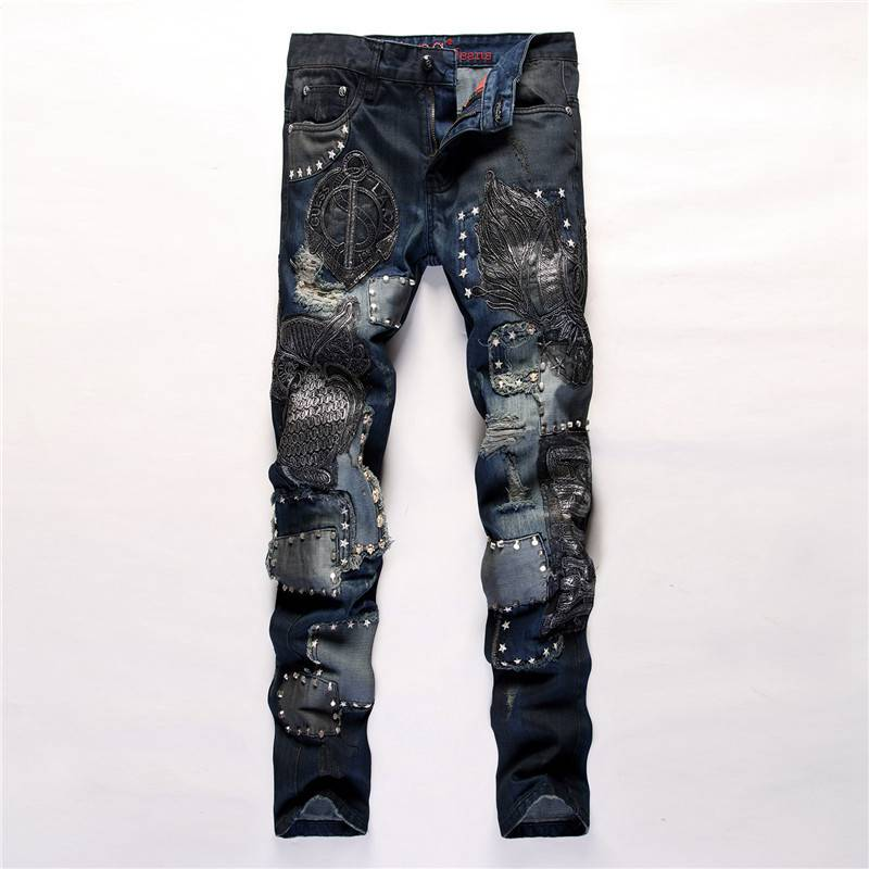 #3220 2016 Mens designer clothes Fashion Embroidery owl Slim fit Straight Denim moto jeans Pantalon homme Biker jeans men