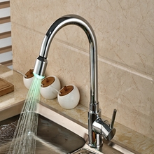 Wholesale And Retail Promotion Modern LED Color Changing Chrome Brass Kitchen Faucet Single Handle Hole Vanity Sink Mixer Tap