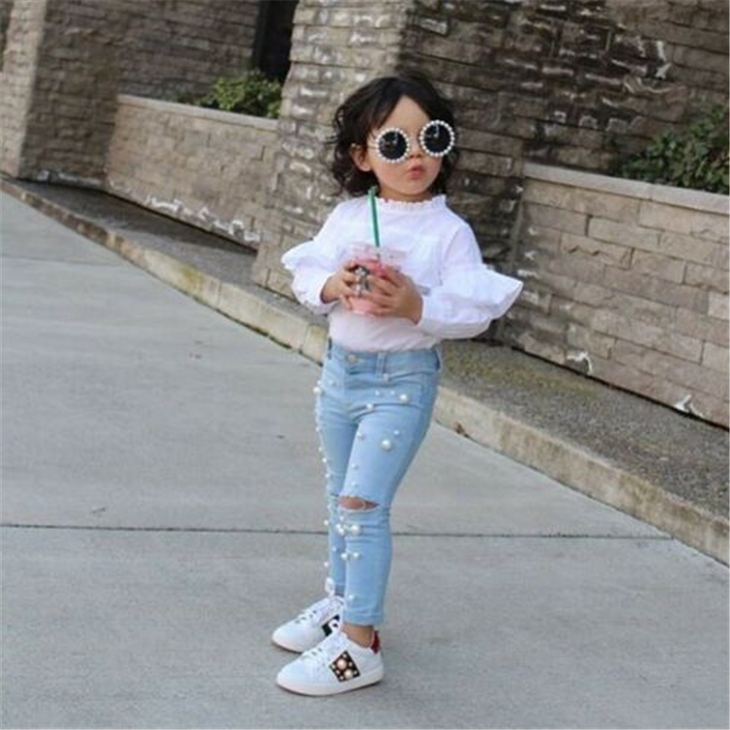 Baby Jean Elastic-Trousers Girl Infant Denim Clothing Pants Casual Kid Summer Hole Shredded