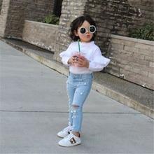 Детские летние повседневные джинсы для девочек, рваные джинсы, джинсовые штаны, эластичные брюки, джинсы для малышей, Одежда для младенцев