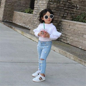 Baby Jean Clothing Pants Elastic-Trousers Hole Girl Infant Summer Denim Kid Casual Shredded