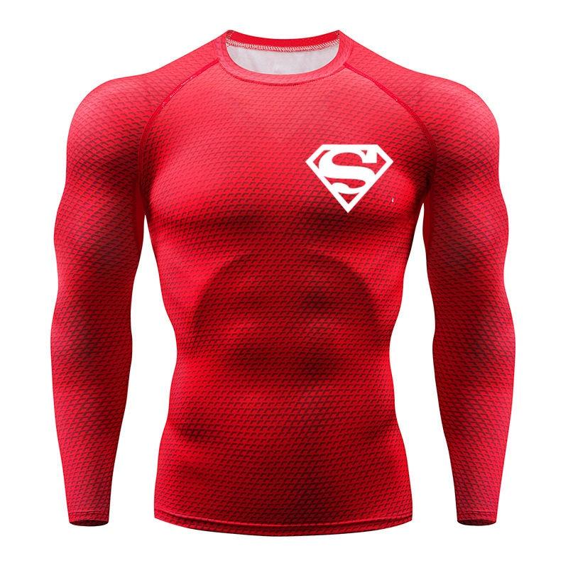 NEW Hot Sale Superman Punisher Rashgard Running Shirt Men T-shirt Long Sleeve Compression Shirts Gym T Shirt Fitness Sport Shirt