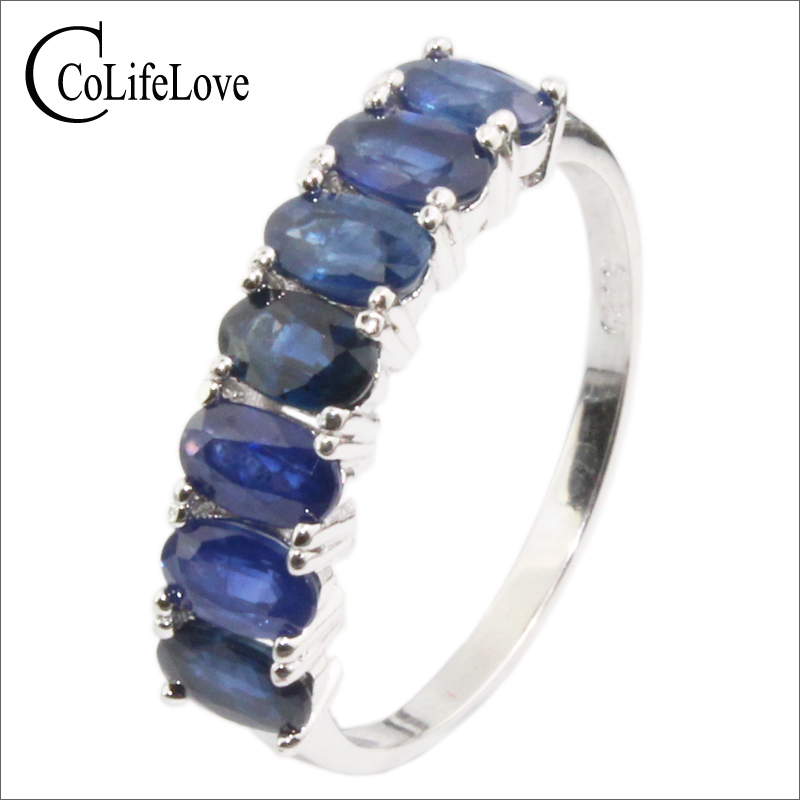 Classic seven stones ring for woman 7 pcs natural sapphire silver ring solid 925 silver sapphire jewelry romantic birthday gift