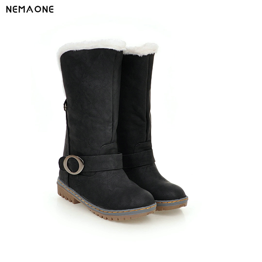 New winter warm snow Boots woman low square Heels plush Women mid-calf boots ladies casual shoes large Size 44 45 46 plus size 34 47 new autumn winter plush women boots mid calf snow boots woman keep warm mother botas butterfly flats roman shoes