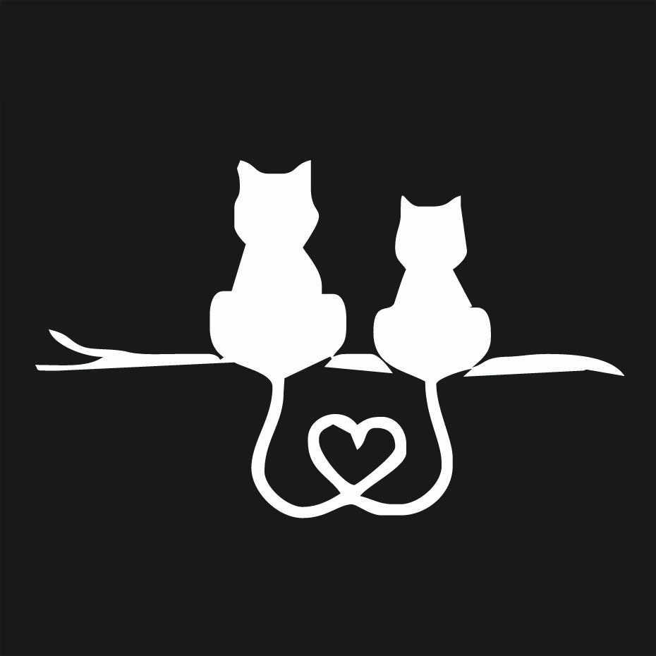 Animal love cat back cute decal car truck sticker vinyl graphic sideline applique 3D car stickers black,White 19Mar4