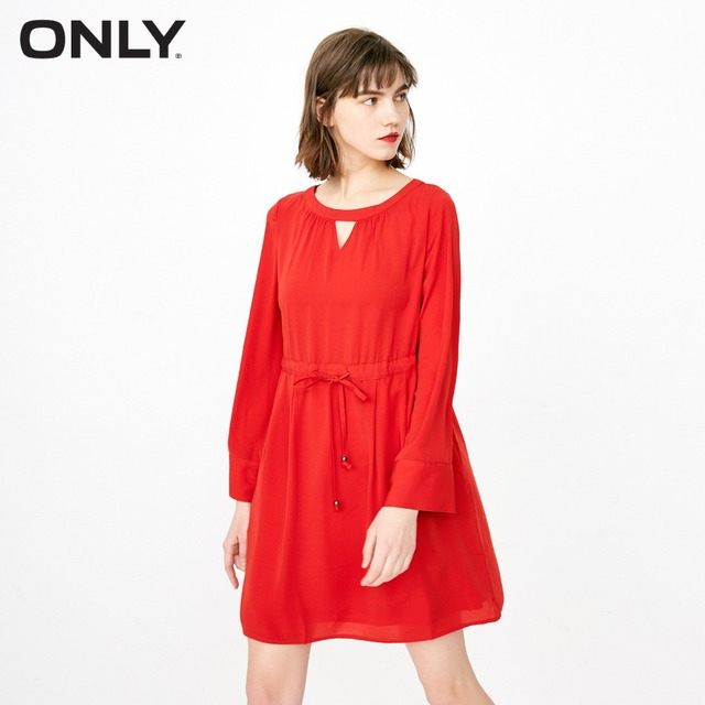 ONLY Women's Pure Color See-through Lace-up Cinched Waist Dress|118107540