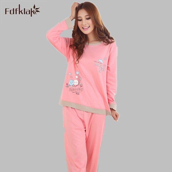2XL 3XL Plus Size Mulheres Pijamas de Inverno Pijamas das Mulheres Dos Desenhos Animados Manga Longa Pijamas Mujer Casuais Agasalho Sleepwear E0221