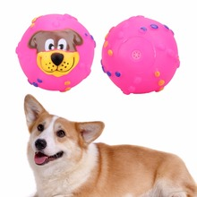 Cat Dog Toys Soft Rubber Dog Face Chew Squeaker Toys for Dog Cat Funny Training Toy