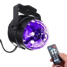 Новинка 3 W УФ Фиолетовый светодиодные Сценическое освещение самоходный/голосовой/мигающий хрустальный магический шар свет партия дискотека