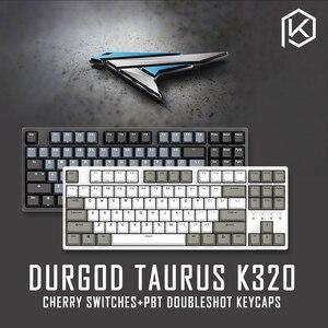 Durgod 87 taurus k320 teclado mecânico, usando interruptores cherry mx pbt teclado duplo quente, marrom, azul, preto, vermelho, prata
