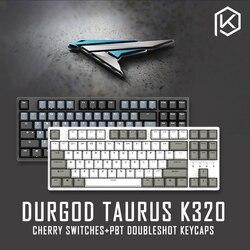 Durgod 87 Taurus K320 Mekanik Keyboard Menggunakan Cherry MX Switch PBT Doubleshot Tombol Coklat Biru Hitam Merah Perak Beralih