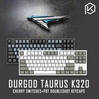 Durgod 87 taurus k320 mechanische tastatur mit cherry mx schalter pbt doubleshot tastenkappen braun blau schwarz rot silber schalter-in Tastaturen aus Computer und Büro bei