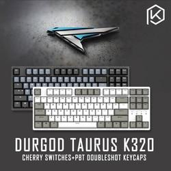 Durgod 87 taurus k320 mechanische toetsenbord met cherry mx switches pbt doubleshot keycaps bruin blauw zwart rood zilver schakelaar
