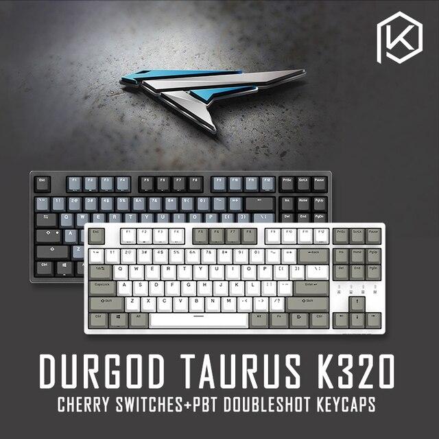 Durgod 87 taurus k320 체리 mx 스위치를 사용하는 기계식 키보드 pbt doubleshot keycaps 브라운 블루 블랙 레드 실버 스위치
