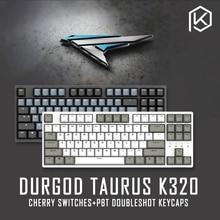 Tastiera meccanica durgod 87 taurus k320 con interruttori cherry mx tasti pbt a doppio colpo marrone blu nero rosso argento