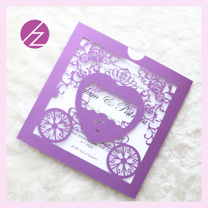 Free Shipping Laser Cut Luxury Baby Carriage Invitation Shower Elegant Card Paper Party Decoration