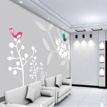 Hand-painted big tree bird simple TV background wall professional production mural wholesale wallpaper custom photo