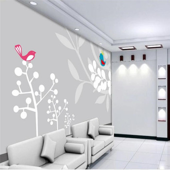 Hand-painted big tree bird simple TV background wall professional production mural wholesale wallpaper mural custom photo wall hand painted color oil painting background wall professional production mural factory wholesale wallpaper poster photo wall