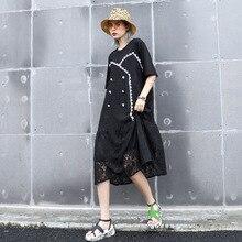Women Summer Short Sleeve Lace Spliced Loose Casual Black Dress Female Streetwear Elegant Chic Vintage Long Dress Plus Size dolman sleeve lace spliced popover dress