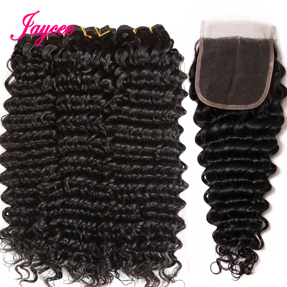 Jaycee Brazilian Deep Wave 3/4 Bundles With Closure 4 Pcs Non Remy Hair Extensions 100% Human Hair Weave With Free Part Closure