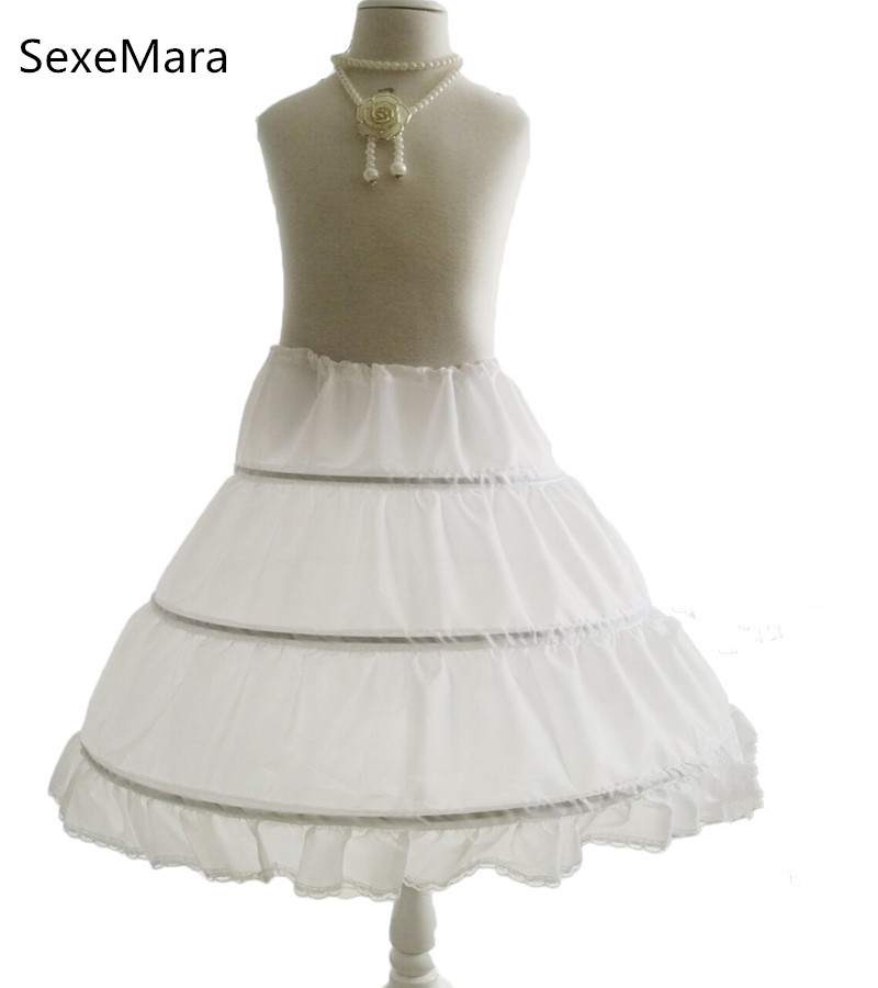 White 3 Hoops Cancan Children Kid Dress Bridal Petticoat Crinoline Underskirt Wedding Accessories For Flower Girls Dresses