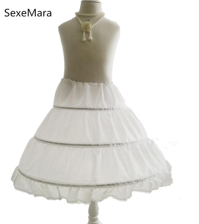 White 3 Hoops Cancan Children Kid Dress Bridal Petticoat Crinoline Underskirt Wedding Accessories For Flower Girls Dresses