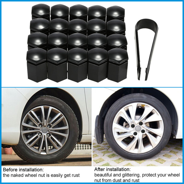 Styling Car 17 * 30 mm negro 20 unids/set vehículo Auto Car Wheel Nut tornillo tapa para VAUXHALL coches