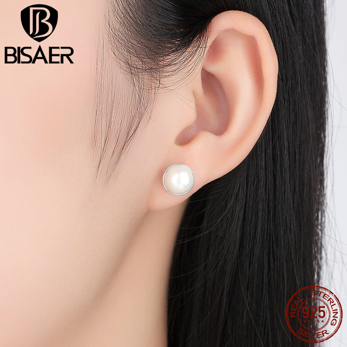 Authentic 925 Sterling Silver Elegant Beauty, Round White Simulated Pearl Stud Earrings Women Jewelry Brincos WEUS489 classical malachite green round shell simulated pearl abacus crystal 7 rows necklace earrings women ceremony jewelry set b1303