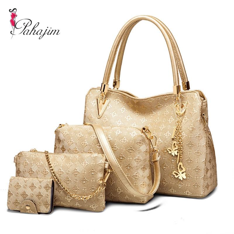 все цены на Pahajim 4 Bag/Set New Mother Handbag Brand Designer Women Bag Letter Top-Handle Bags Fashion Femal Bags Shoulder Bags онлайн
