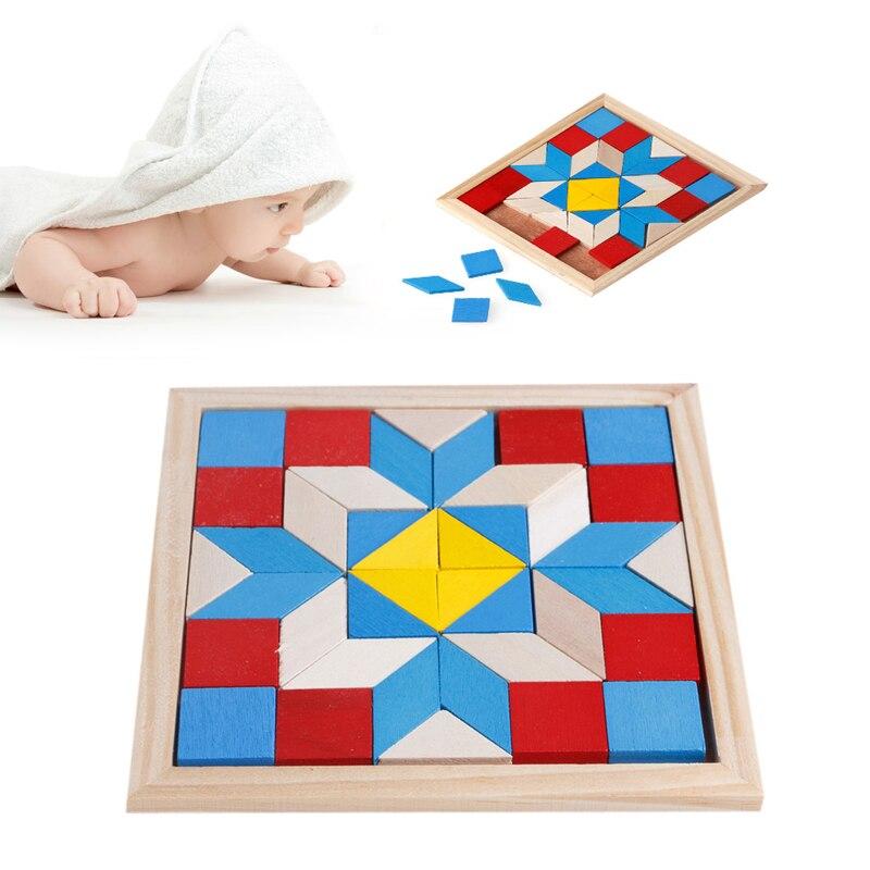 Геометрия TANGRAMS Logic Тренировки Мозга игры IQ деревянные головоломки для детей Игрушечные лошадки подарки