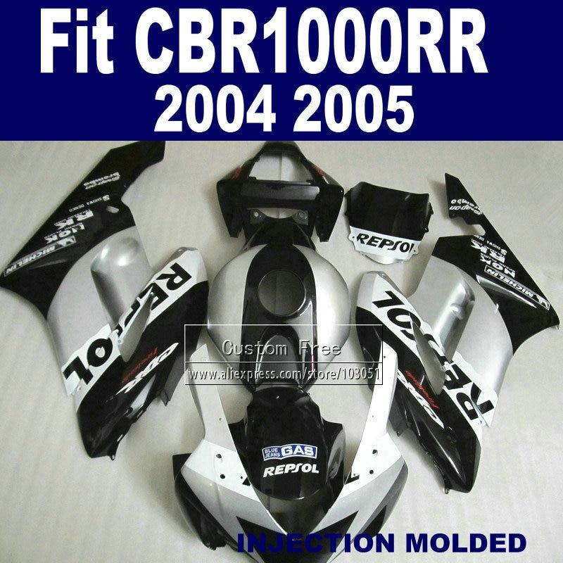 Personalizzata Road corredi della carenatura Iniezione per Honda 2004 2005 CBR CBR1000RR 1000 RR 04 05 CBR 1000RR repsol carenature parti del corpo d'argento