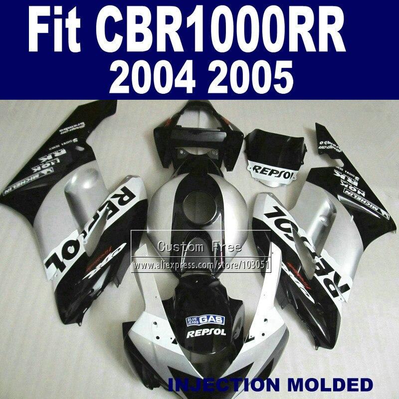 Personnalisé Route Injection carénage kits pour Honda 2004 2005 CBR1000RR CBR 1000 RR 04 05 CBR 1000RR argent repsol carénages parties du corps