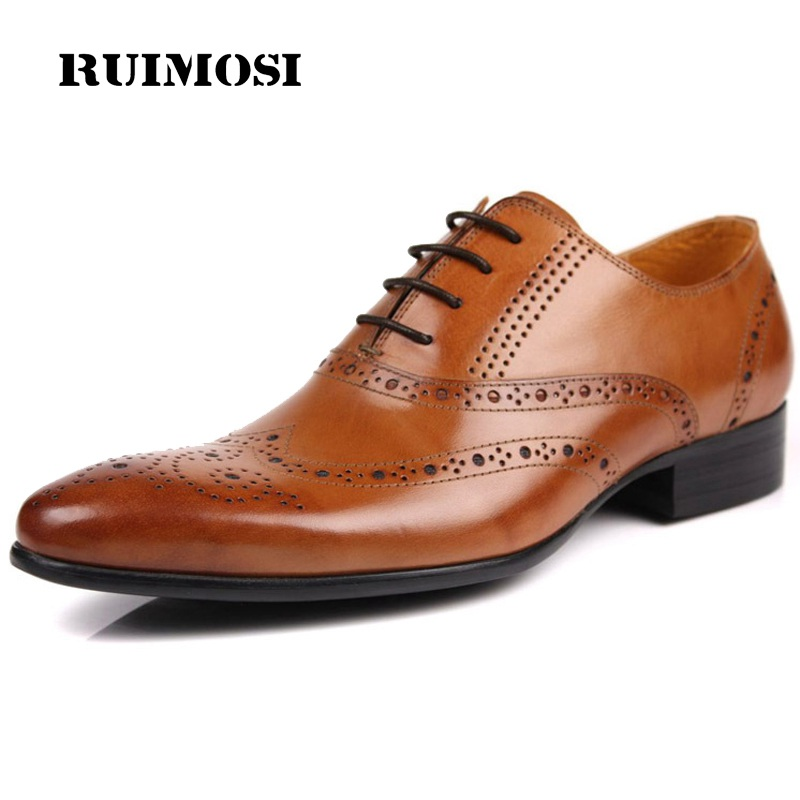 RUIMOSI Luxury Man Dress Wing Tip Brogue Shoes Italian Genuine Leather Oxfords Pointed Toe Men's Wedding Flats For Bridal ME63