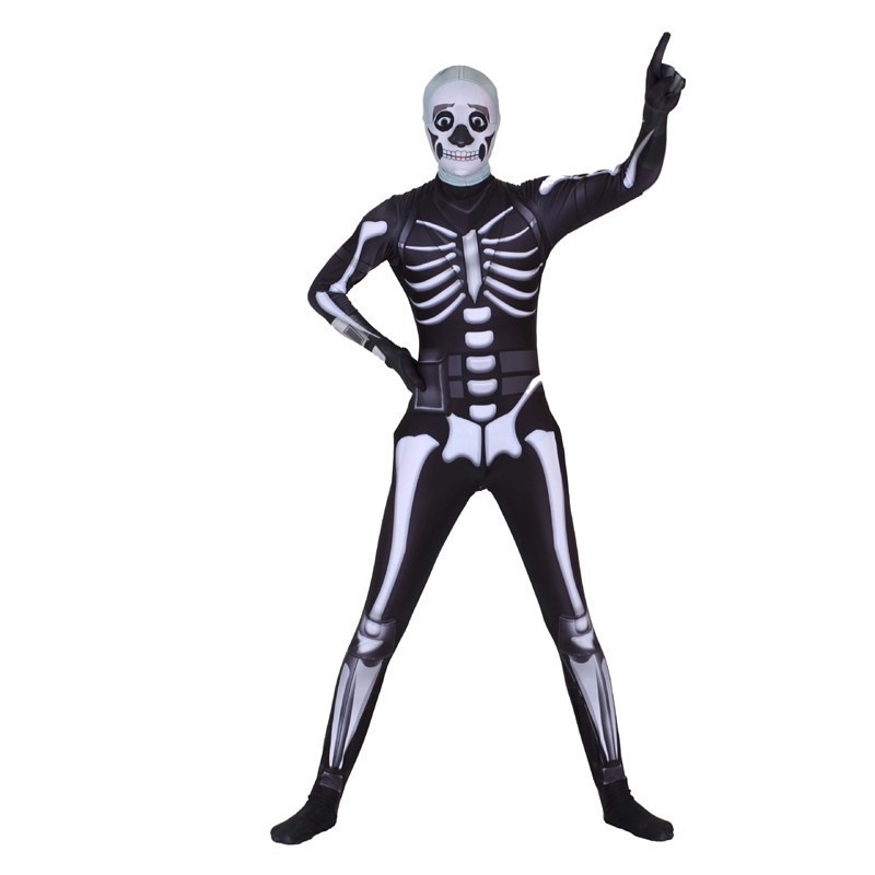 Game Fortnight Skull Trooper Kid Costume Onesies Catsuit Zentai Suit Bodysuit Jumpsuit Cosplay Scary Skeleton Party Skull  Men