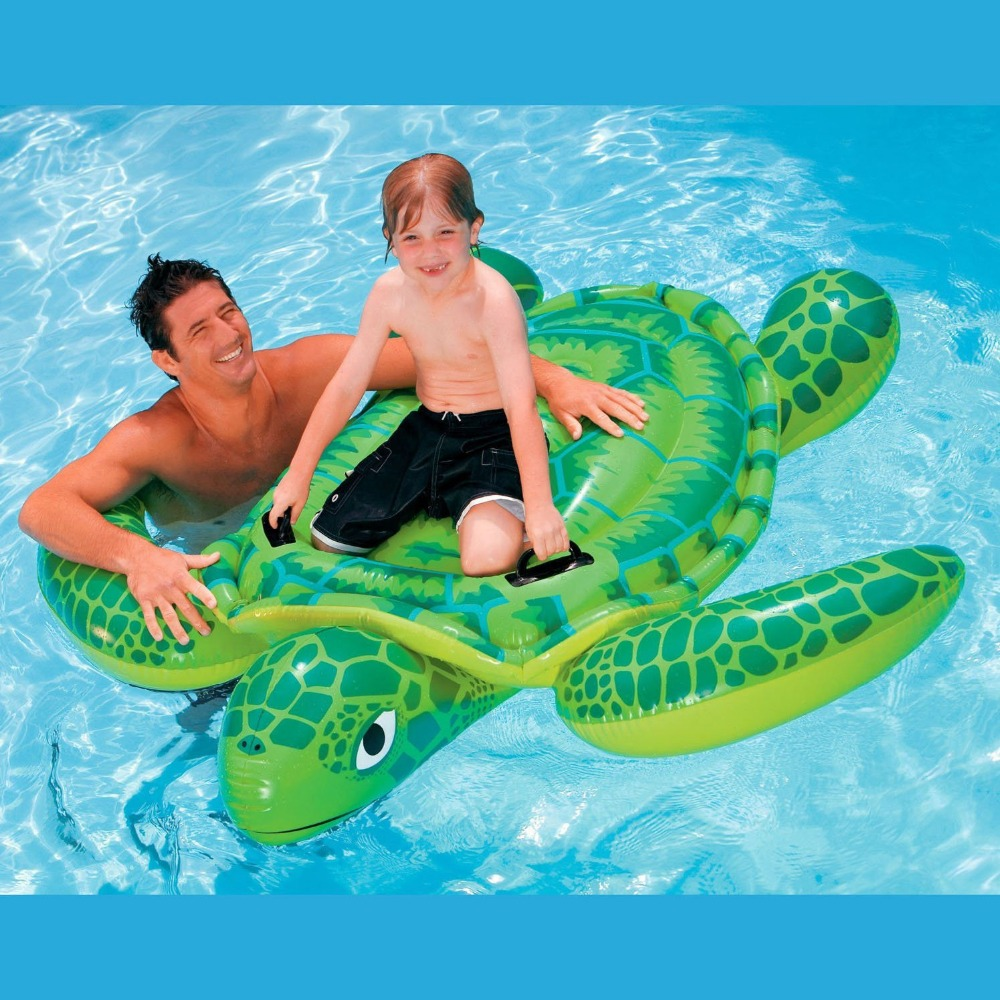 Intex Sea Turtle Ride On Swimming Pool Float Raft Toy Inflatable Beach Toy Gift with Air Pump 500cc