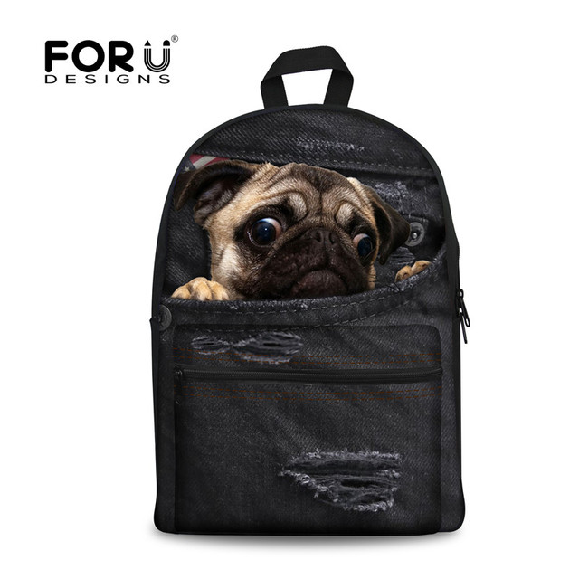 c62ca6383c FORUDESIGNS Women Backpacks for Teenage Girls Cat Pug Dog Printing Boys  School Backpack Denim Black Jeans Women laptop backpack