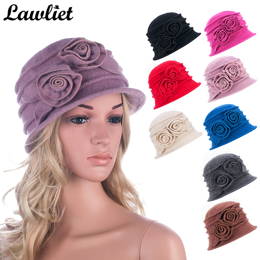 Wool Hats for Women Beanie Caps Floral Cloche Warmer Knitted Beret Hats Ladies Bucket Fedoras Church Hat Casual Winter Skullies ladies autumn winter felt hat vintage bowler cloche hat
