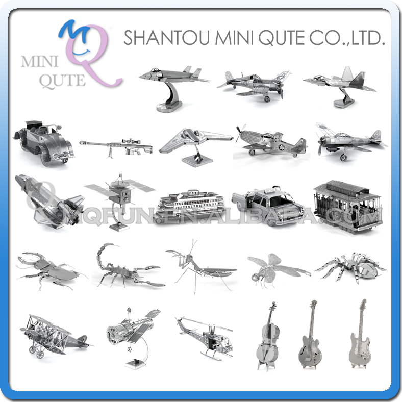 Piece Fun 3D Laser Cut DIY Assembly Models Plane Metal Puzzle Military insect musical instrument Adult kids educational toy