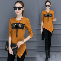 Long Sleeve T Shirt Female Top Medium Long Plus Velvet Thickening Basic Shirt Basic Clothes Autumn