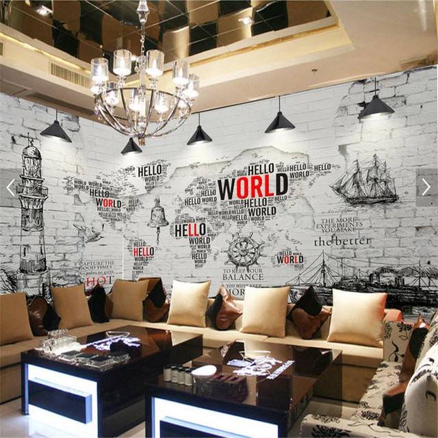 Retro Nostalgic Letters The World Map White Brick Wall Backgdrop Mural Wallpapers For Living Room Cafe Papers Home Decor 3d