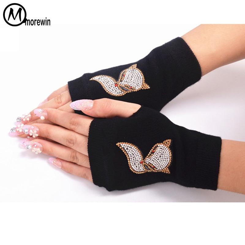 Fashion Cartoon Print Fox Fingerless Gloves Women Summer Short Rivet Flower Fingerless Driving Gloves Sexy Womens Thin Mittens