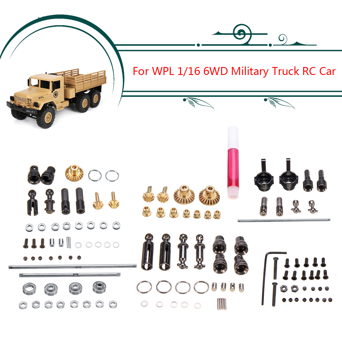 For WPL 1/16 6WD RC Car Military Truck Upgrade Metal OP Accessory Set DIY Spare Parts Easy to Install Durable Metal & Plastic