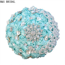 H&S BRIDAL Tiffany Ivory White Crystal Satin Wedding Bouquet Bridesmaid bouquet de mariage wedding flowers bridal bouquets 2017