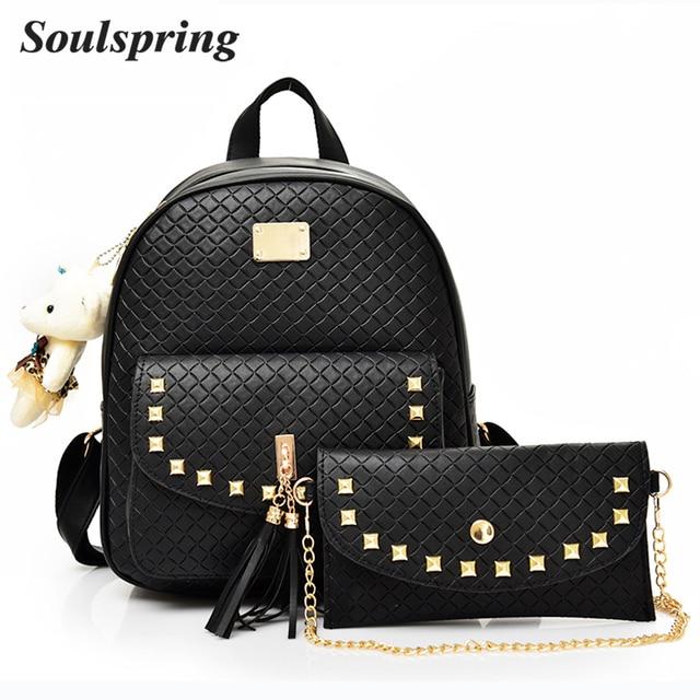 5fccb3f15198 Модные кожаные рюкзак Для женщин ромбовидная решетка школьные сумки для  девочек-подростков кисточкой рюкзаки Сеть