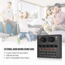 Смешивание звуковой карты USB аудио интерфейс с несколькими звуковыми эффектами встроенный для пения криков живого потокового чата музыкальная запись