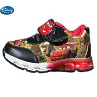Disney Cars Children Casual Shoes Spring Autumn Car Lights Flash LED 2107 Boys Cartoon School Student