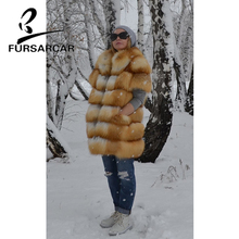FURSARCAR New Fashion Real Fur Coat Women Luxury Natural Gold Fox Jacket Female Winter Thick Warm