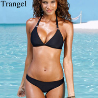Trangel Bikini Women Swimwear 2018 Halter Swimsuit Women Bikinis Set Black Solid Biquini Push Up Swimwear